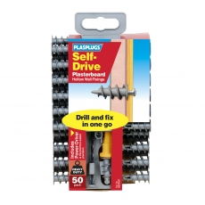 50 x Nylon Self Drive Regular Duty Fixings Clip Pack + Drill & Driver