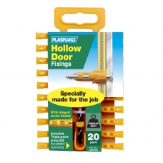 20 x Hollow Door Regular Duty Fixings Clip Pack + Drill