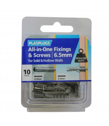 10 x 6.5mm All-in-One Multipurpose Fixings & Screws