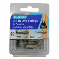 20 x 6.5mm All-in-One Multipurpose Fixings