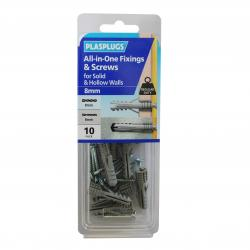 10 x 8mm All-in-One Multipurpose Fixings & Screws