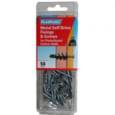 50 x Metal Self Drive Heavy Duty Fixings + Screws