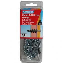 50 x Metal Self Drive Heavy Duty Fixings + Screws