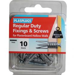 10 x Regular Duty Plasterboard Fixings & Screws