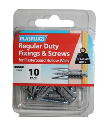 10 x Regular Duty Plasterboard Fixings & Screws