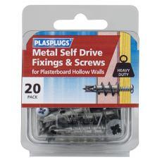 20 x Metal Self Drive Heavy Duty Fixings + Screws