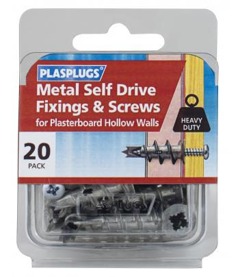 20 x Metal Self Drive Heavy Duty Fixings + Screws