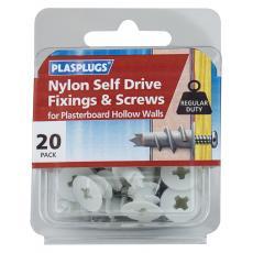 20 x Nylon Self Drive Regular Duty Fixings + Screws
