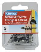 5 x Metal Self Drive Heavy Duty Fixings + Screws