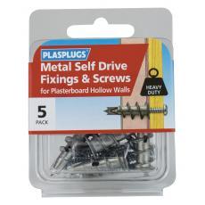 5 x Metal Self Drive Heavy Duty Fixings + Screws