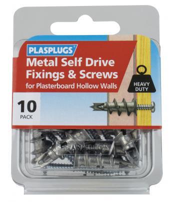 10 x Metal Self Drive Heavy Duty Fixings + Screws