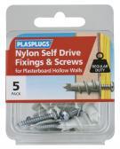 5 x Nylon Self Drive Regular Duty Fixings + Screws