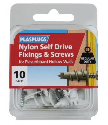 10  x Nylon Self Drive Regular Duty Fixings + Screws