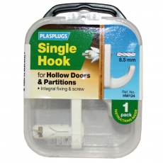 1 x Hollow Door Single Fixing Hook